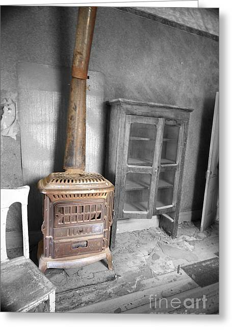Antique Wood Stove Greeting Cards - Rusty Stove Greeting Card by Cheryl Young