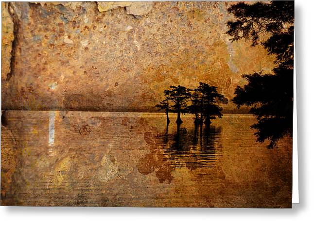 Waterscape Digital Art Greeting Cards - Rusty Sunrise Greeting Card by J Larry Walker