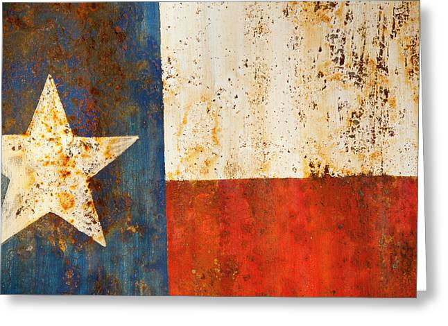 Sign Photographs Greeting Cards - Rusty Texas Flag Rust And Metal Series Greeting Card by Mark Weaver