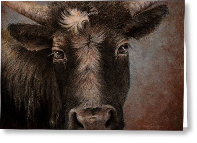Cattle Prints Pastels Greeting Cards - Rusty the Steer Greeting Card by Neva Cruddas