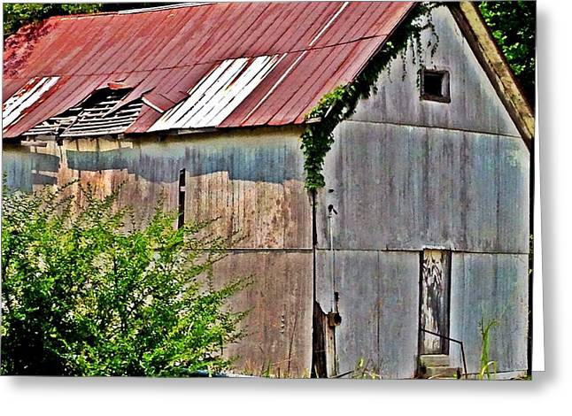 Tin Roof Greeting Cards - Rusty Tin Roof Barn Greeting Card by Penny King-Clark