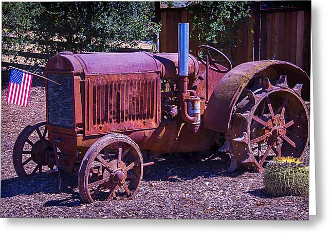 Rusty Greeting Cards - Rusty Tractor With American Flag Greeting Card by Garry Gay