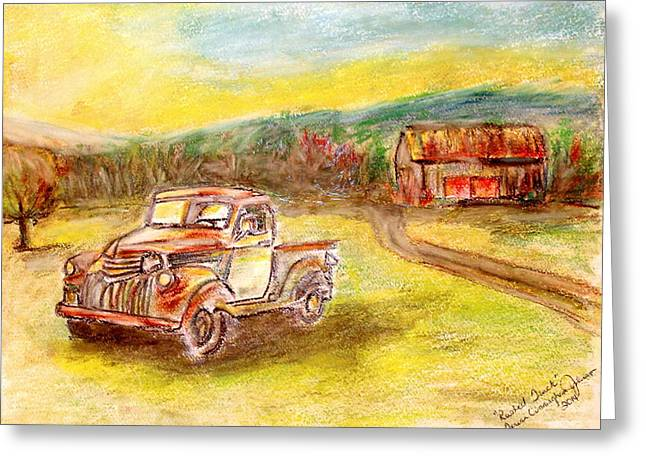 Rust Pastels Greeting Cards - Rusty Truck Greeting Card by Teresa Johnson
