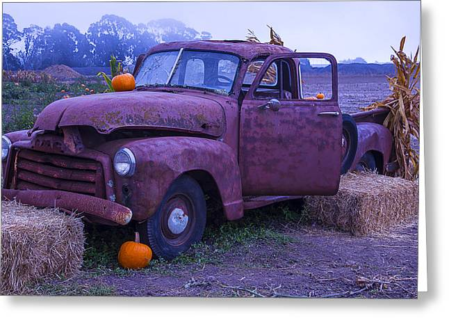 Rubbish Greeting Cards - Rusty Truck With Pumpkins Greeting Card by Garry Gay