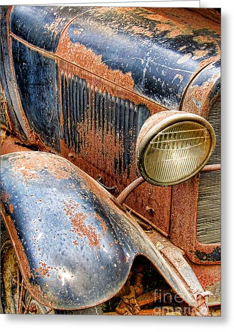 Rusted Cars Photographs Greeting Cards - Rusty Vintage Automobile Greeting Card by Olivier Le Queinec