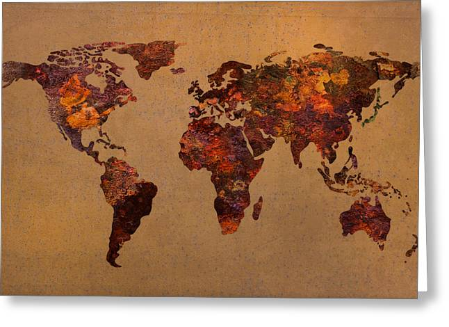 World Maps Mixed Media Greeting Cards - Rusty Vintage World Map on Old Metal Sheet Wall Greeting Card by Design Turnpike