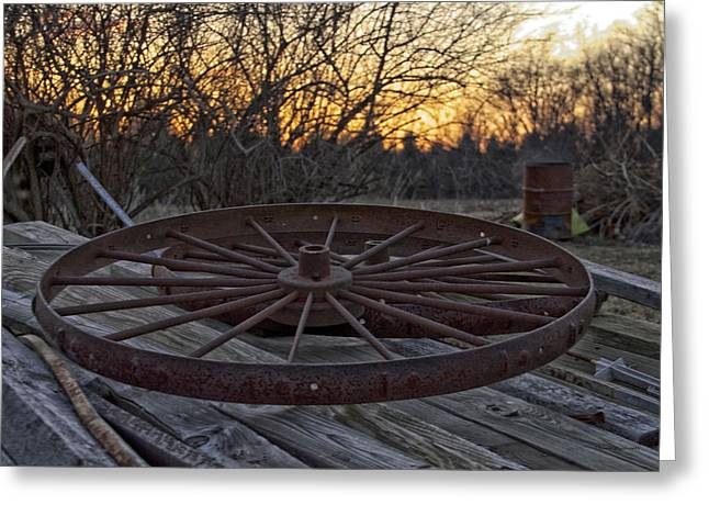 Calcined Greeting Cards - Rusty Wagon Wheel At Sunset Greeting Card by Thomas Woolworth