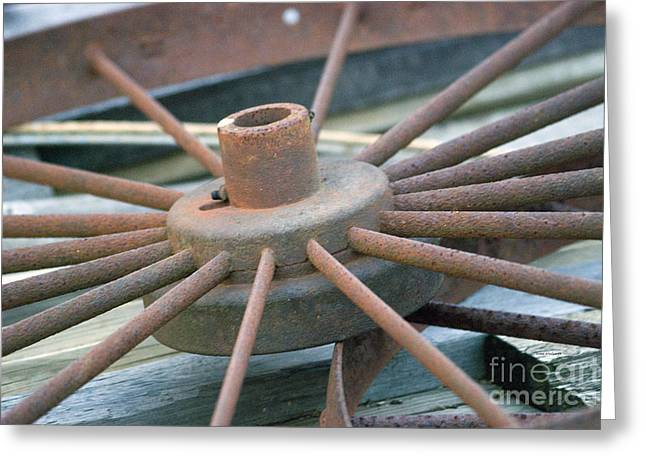 Calcined Greeting Cards - Rusty Wagon Wheel Greeting Card by Thomas Woolworth