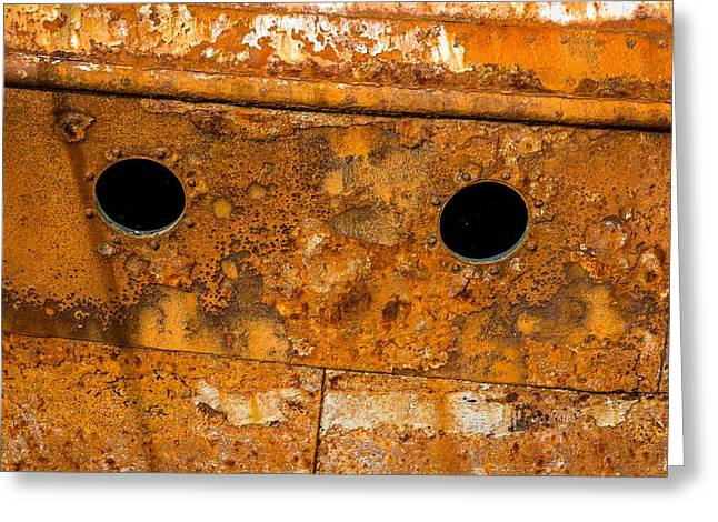 Scuttle Greeting Cards - Rusty Wall Of An Abandoned Ship Greeting Card by Andreas Berthold