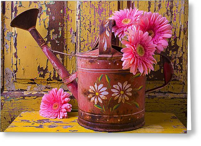 Rusty Greeting Cards - Rusty Watering Can Greeting Card by Garry Gay