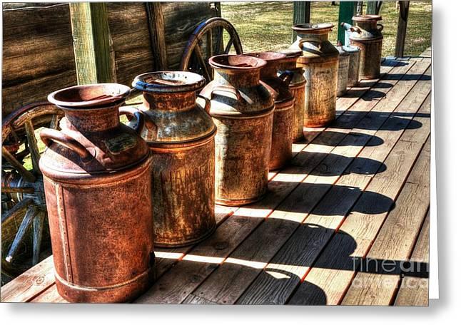Wagon Wheels Greeting Cards - Rusty Western Cans 2 Greeting Card by Mel Steinhauer