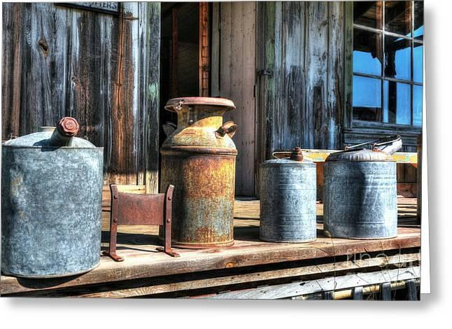 Rusty Western Cans 3 Greeting Card by Mel Steinhauer