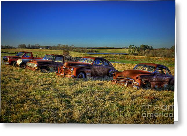Chevrolet Pickup Truck Greeting Cards - Rusty Westward Line Up Greeting Card by Reid Callaway