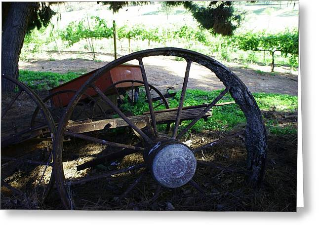 Equipment Pyrography Greeting Cards - Rusty Wheel  Greeting Card by Brian Brasher