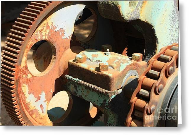 Rusty Wheel Gear Greeting Card by Carol Groenen