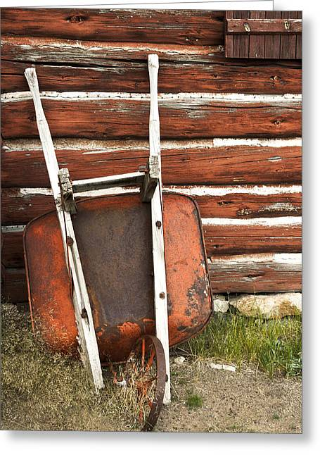 Mining Photos Greeting Cards - Rusty Wheelbarrow Greeting Card by K Powers  Photography