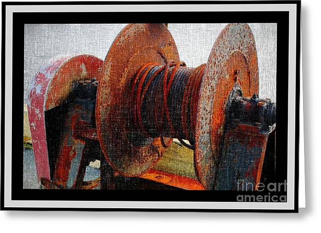 Rusty Oil Drum Greeting Cards - Rusty Winch  Greeting Card by Barbara Griffin