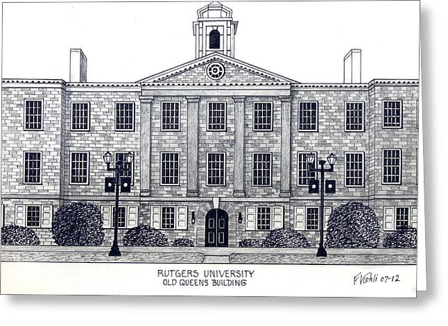 College Campus Buildings Drawings Greeting Cards - Rutgers University Greeting Card by Frederic Kohli