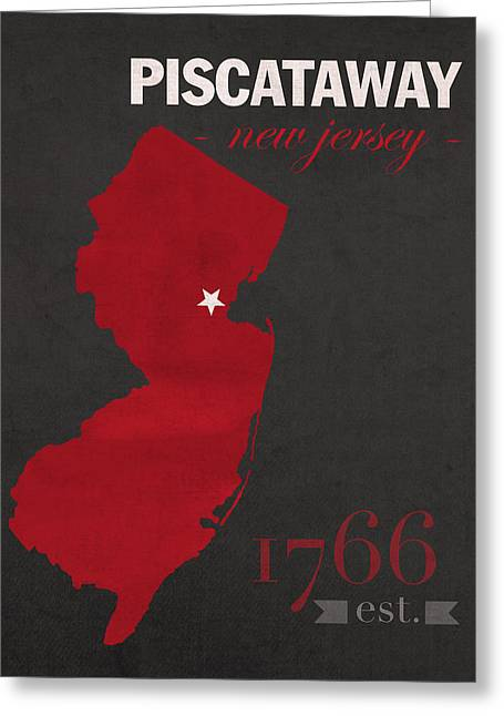 Knighting Mixed Media Greeting Cards - Rutgers University Scarlet Knights Piscataway NJ College Town State Map Poster Series No 092 Greeting Card by Design Turnpike