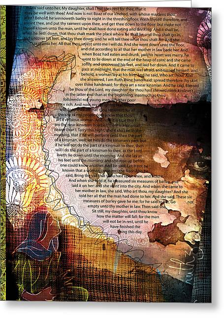 Pentecost Greeting Cards - Ruth 3 Greeting Card by Switchvues Design