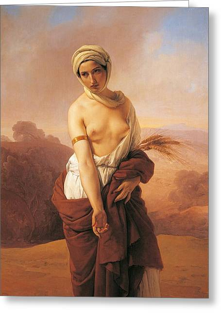 Exoticism Greeting Cards - Ruth Greeting Card by Francesco Hayez