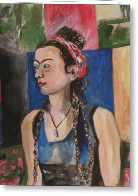 Seated Woman Greeting Card Greeting Cards - Ruthie with Braids Greeting Card by Esther Newman-Cohen