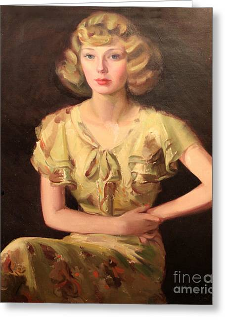 Seated Woman Greeting Card Greeting Cards - Ruths Attitude 1929 Greeting Card by Art By Tolpo Collection