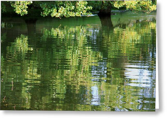 Rutland Water Reflection Greeting Card by Karin Ubeleis-Jones