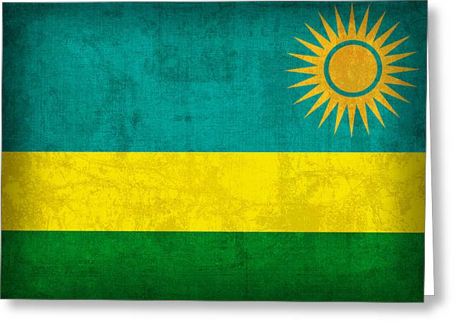 Rwanda Flag Vintage Distressed Finish Greeting Card by Design Turnpike