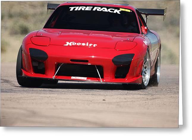 Mazda Greeting Cards - RX 7 Race Car Greeting Card by Ernie Echols