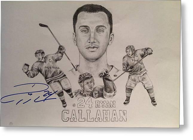 New York Rangers Drawings Greeting Cards - Ryan Callahan Greeting Card by Chelsea Simunek