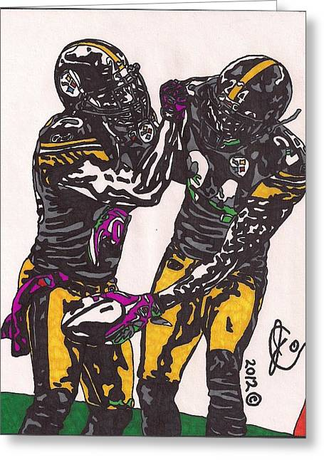 Player Drawings Greeting Cards - Ryan Clark and Ike Taylor Greeting Card by Jeremiah Colley
