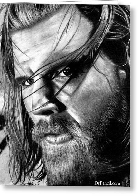 Sons Of Anarchy Greeting Cards - Ryan Hurst as OPIE Greeting Card by Rick Fortson