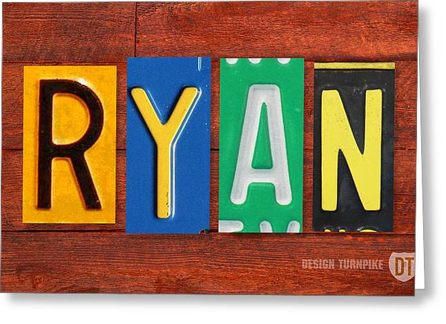 Road Trip Greeting Cards - RYAN License Plate Name Sign Fun Kid Room Decor. Greeting Card by Design Turnpike