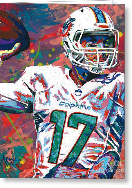 National Paintings Greeting Cards - Ryan Tannehill Greeting Card by Maria Arango