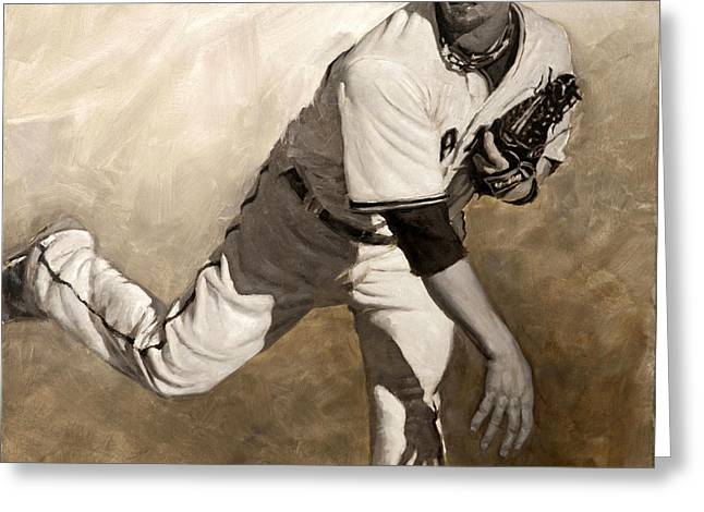 Sf Giants Greeting Cards - Ryan Vogelsong Perseverence Greeting Card by Darren Kerr