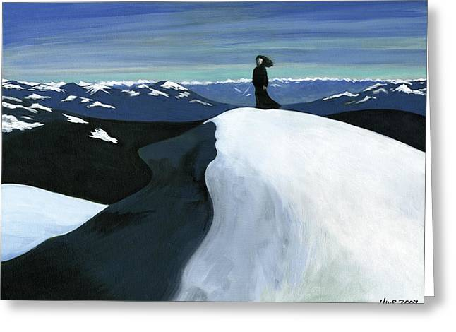 Ryder On The Mountain Greeting Card by Holly  Whitstock Seeger