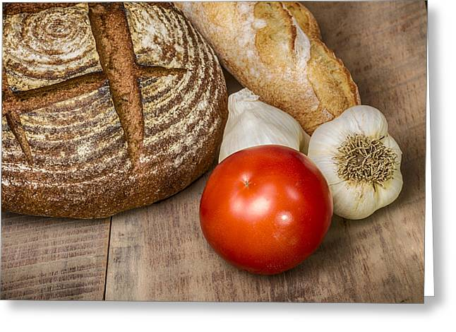 Loaf Of Bread Greeting Cards - Rye Bread and Tomato Greeting Card by John Trax