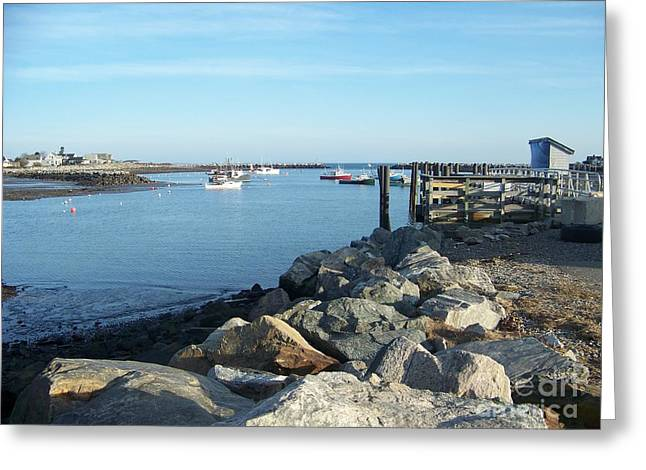 Recently Sold -  - Surfing Art Greeting Cards - Boats Sit In Rye Harbor New Hampshire  Greeting Card by Eunice Miller