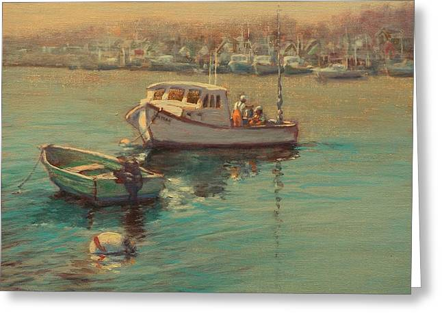 Recently Sold -  - At Work Greeting Cards - Rye Harbor Lobstermen Greeting Card by Ken Fiery