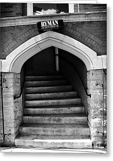 Old Western Photos Greeting Cards - Ryman Auditorium Back Door Greeting Card by Danny Hooks