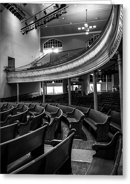 Architecture Of Nashville Greeting Cards - Ryman Auditorium Pews Greeting Card by Glenn DiPaola