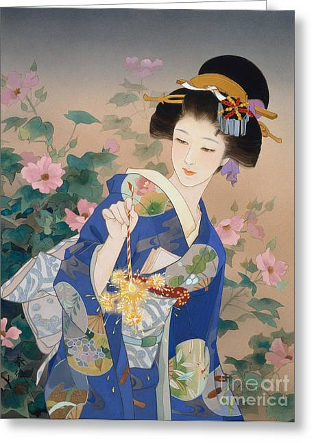 Art Print Digital Art Greeting Cards - Ryo Greeting Card by Haruyo Morita