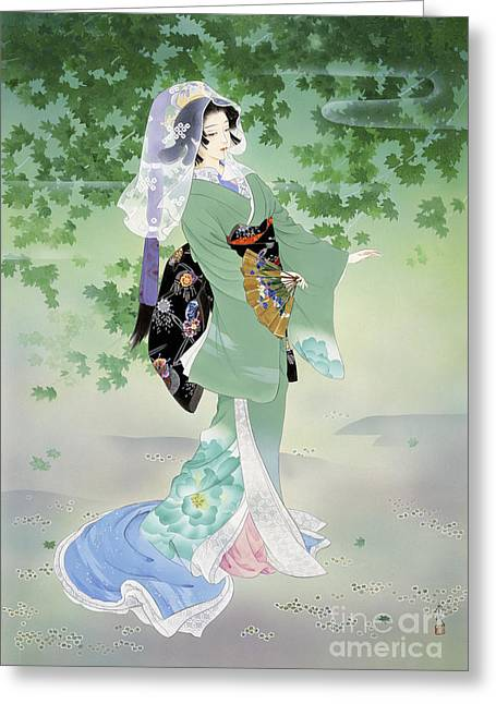 Black Veil Greeting Cards - Ryokufu Emerald Wind Greeting Card by Haruyo Morita