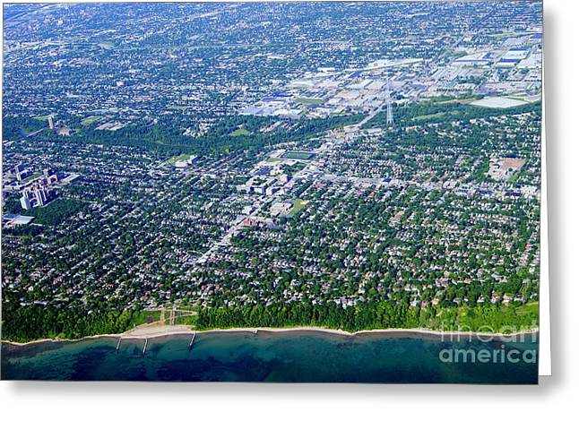Shorewood Greeting Cards - S-066 Shorewood Wisconsin from Lake Michigan Greeting Card by Bill Lang