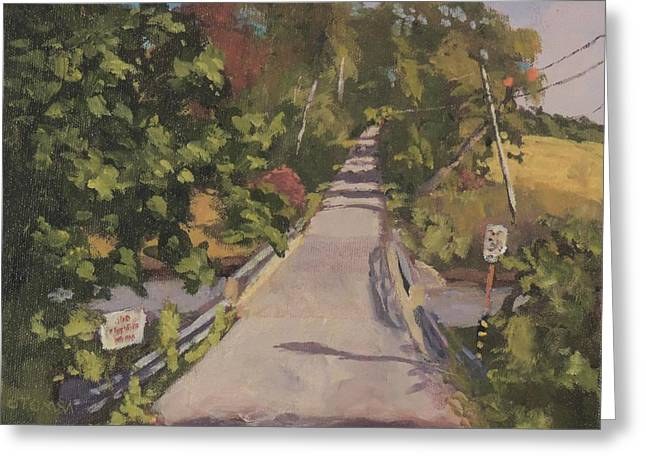 Rural Maine Roads Paintings Greeting Cards - S. Dyer Neck Rd. Greeting Card by Bill Tomsa