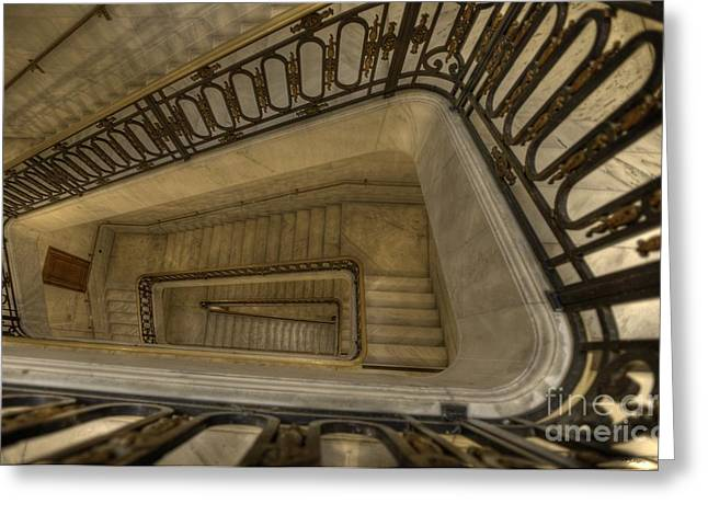 City Hall Greeting Cards - S F City Hall Stairwell Greeting Card by David Bearden