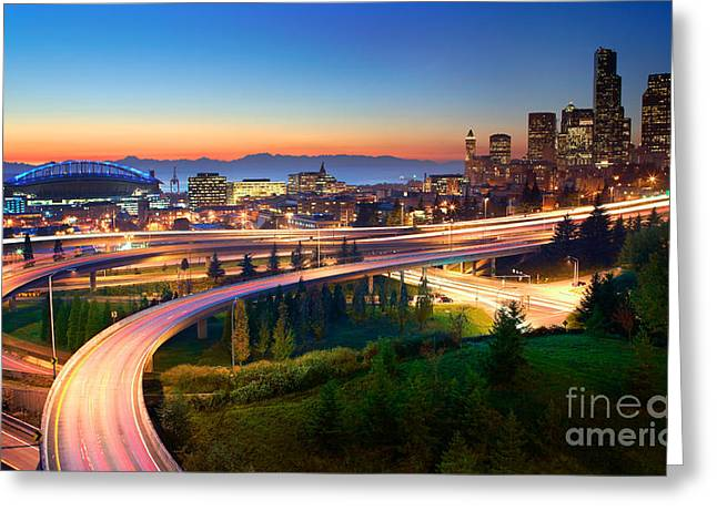 Direction Greeting Cards - S for Seattle Greeting Card by Inge Johnsson