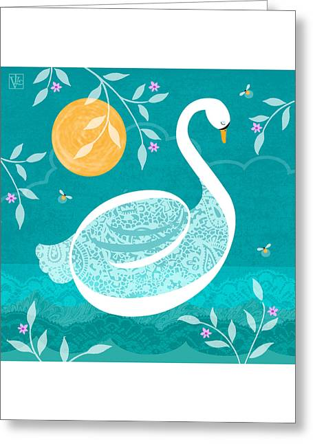 Water Fowl Mixed Media Greeting Cards - S is for Swan Greeting Card by Valerie   Drake Lesiak