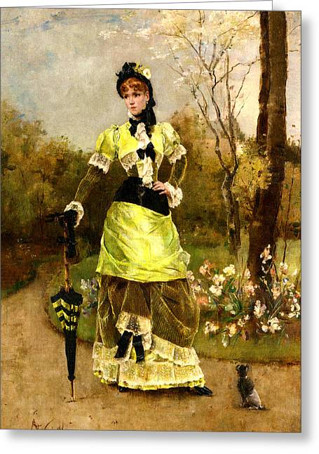 Woman In A Dress Greeting Cards - Sa Majeste La Parisienne Greeting Card by Alfred Stevens
